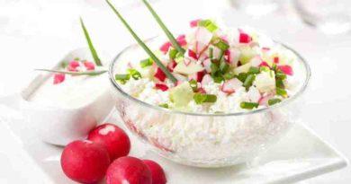 Весенний салат с творогом