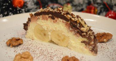 Творожный десерт с бананом