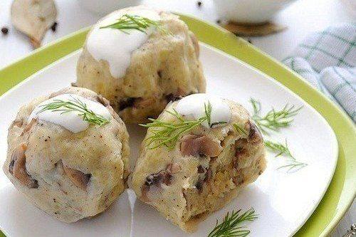 Кнедлики из картофеля с шампиньонами