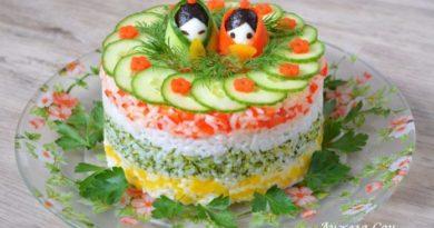 Рисовый торт » Весна в Азии » — красивый и несложный в приготовлении гарнир к празднику!