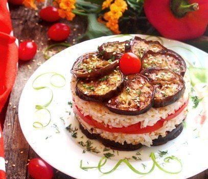 Слоёный салат (с баклажанами и рисом)