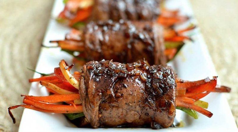 Роллы из говядины (с овощами)