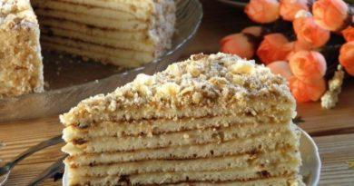 Быстрый торт на сковороде со сгущенкой