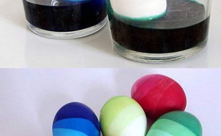 Постепенно добавляем воду в сосуд - уровень воды поднимается, окрашивая яйцо полностью, но слоями разной насыщенности!