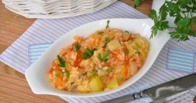Кабачки с рисом и помидорами