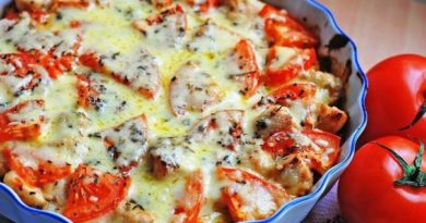 Куриное филе запеченое с овощами и сыром