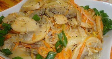 Обалденная фунчоза с грибами о овощами по-корейски