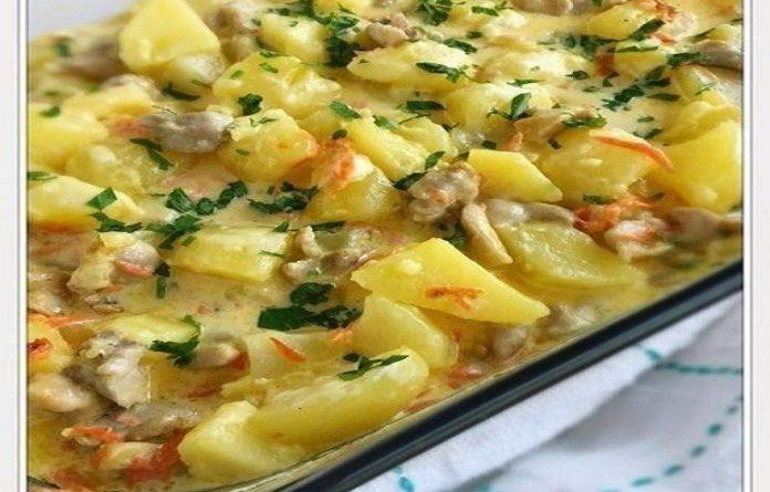 «Сливочный» картофель запеченный с курицей — вкуснятина!