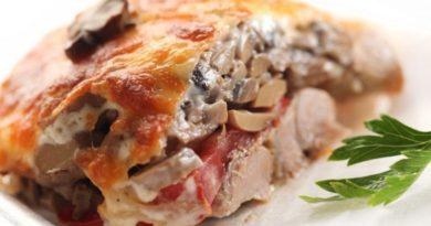 Мясо по-купечески с грибами