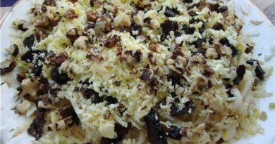 Салат «Черепаший вальс» с курицей и черносливом — удивительный вкус!