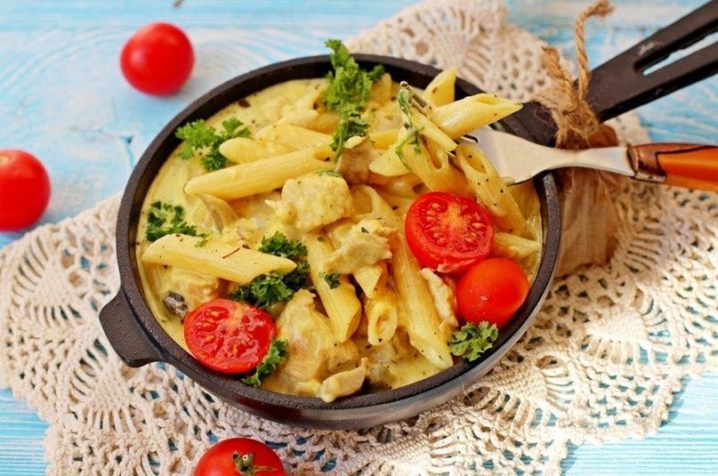 рецепт вкусной пасты с курицей и грибами