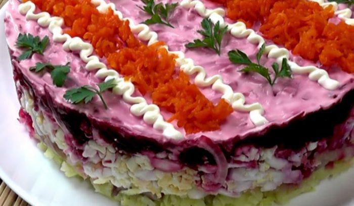 Нежный, красивый и вкусный праздничный салат по-новому