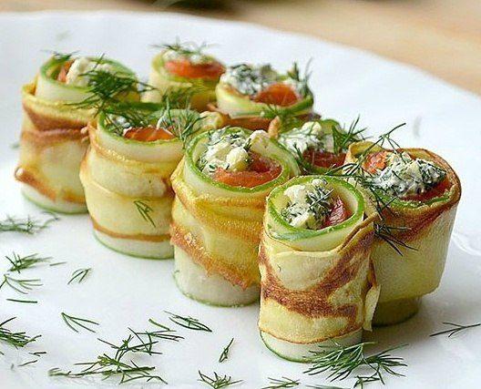 Изысканная праздничная закуска — рулеты из кабачков с нежнейшим сыром