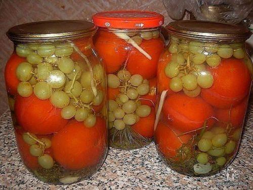 Я просто обожаю этот рецепт — Помидоры с виноградом (БЕЗ УКСУСА!)