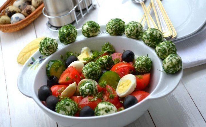 Овощной салат (с сырными шариками)