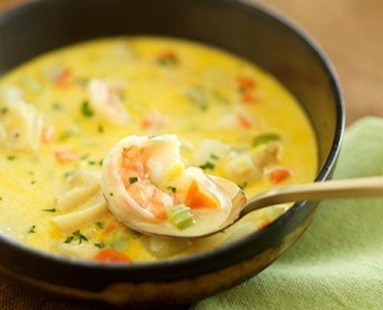 Суп с креветками и сыром