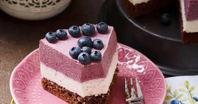 Муссовый черничный торт: шоколадный лёгкий бисквит, невесомый сливочный мусс, тающий во рту черничныи мусс
