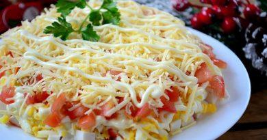 Слоеный салат с крабовыми палочками