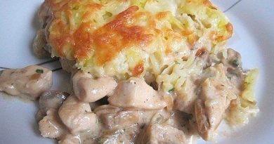 Куpица с грибами, запечённая под картофельной шубой