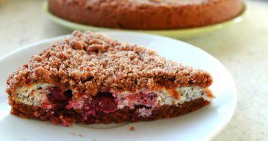 Шоколадный пирог с вишней и маком