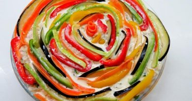 Разноцветная запеканка с фаршем и овощами