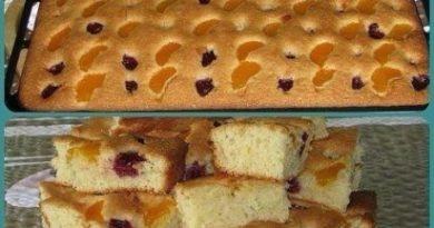 Пирог на минералке с фруктами.