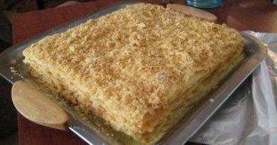 Торт «Наполеон» домашний с заварным кремом