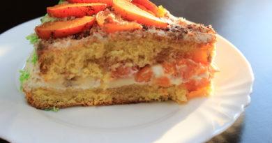 Воздушный бисквитный торт с фруктами