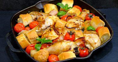 Курочка 3 в 1: хлеб + овощи + мясо! Сытный и вкусный ужин в одной сковородке!