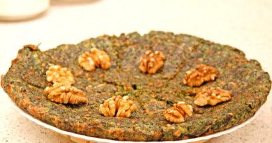Кюкю из зелени с грецкими орехами