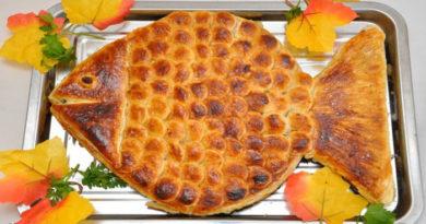 Пирог из слоеного теста «Золотая рыбка»