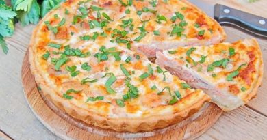 Французский пирог киш с лососем