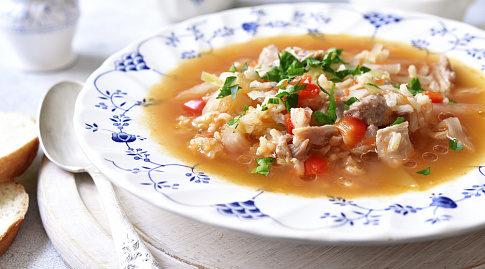 Рецепт куриного супа с рисом и помидорами