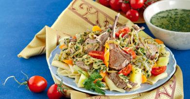 Куллама, отварное мясо с овощами