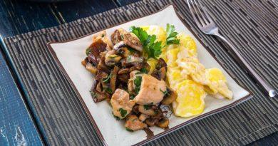 Рецепт шампиньонов в духовке с рыбой