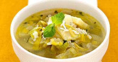 Рисовый суп с сельдереем и мятой