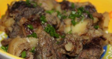 Жаркое из говядины с лесными грибами