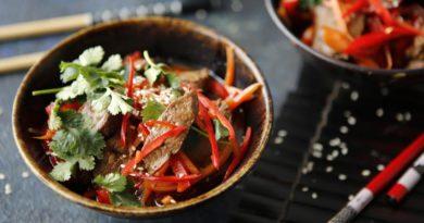 Куриная печенка с овощами в китайском стиле