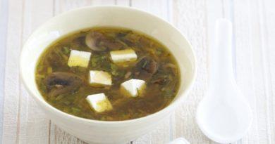 Суп с тофу и шампиньонами