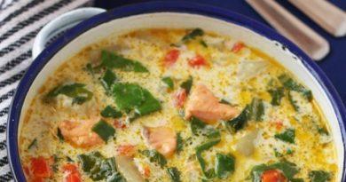 Сырный суп с форелью или сёмгой