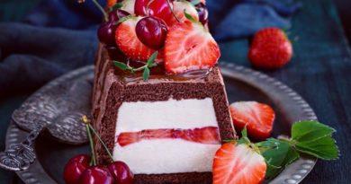 Шоколадный торт со сливочной начинкой , соленой карамелью и ягодами