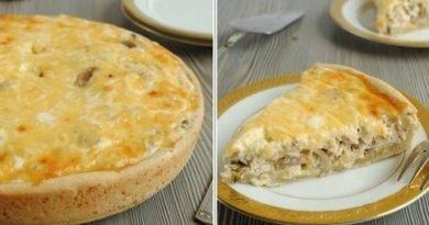 Лотарингский пирог с курицей и грибами