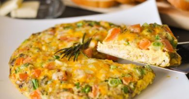 Яичный nирог с овощами на завтрак