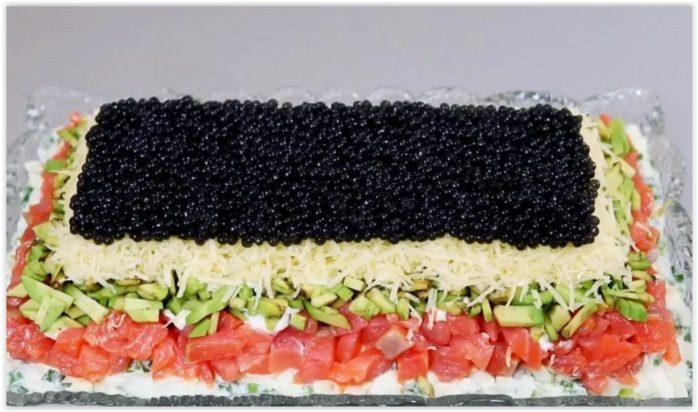 Лакшери - праздничный салат из красной рыбы