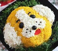 Новогодний мясной салат Желтая собачка