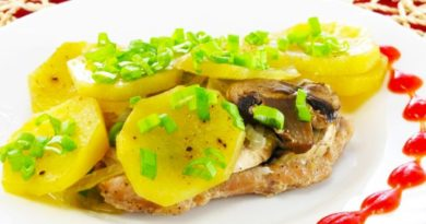 Мясо с грибами и картофелем