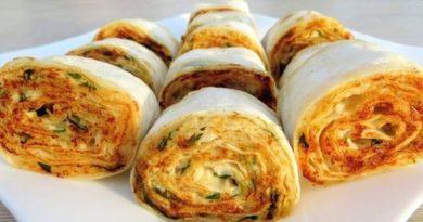 Закуска из лаваша с курицей и плавленым сыром