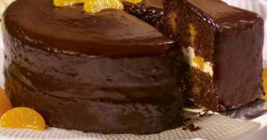 Шоколадно-апельсиновый заварной торт