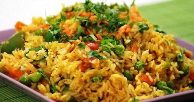 Гарнир из риса, запечённого с овощами