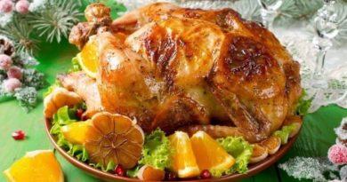 Курица, фаршированная апельсинами